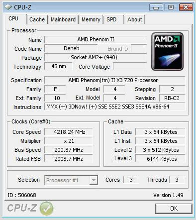 overcl - Phenom X3 720 @ 4,2GHz via air cooler