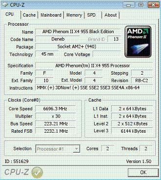 551629 - Phenom II X4 overclockeado a 6.696 MHz
