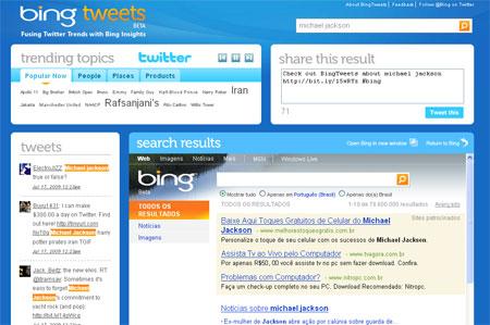 bingtwitts 20090717122901 - Serviço reúne busca de Bing ao Twitter