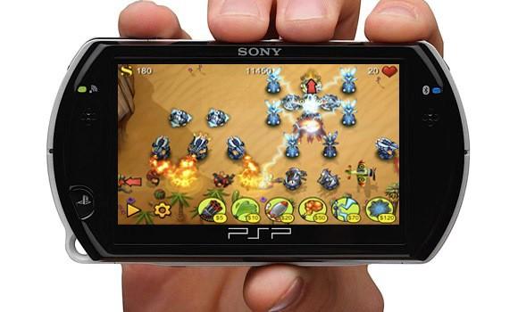 psp go handsie rm fieldrunners mockup - Pequenas aplicações para a PSP (tipo AppStore)
