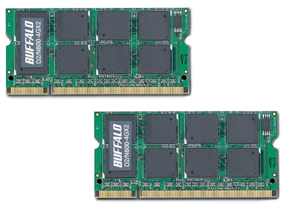 Buffalo D2 N800 4GX2 01 - Buffalo : 8GB DDR2-800 no formato So-DIMM