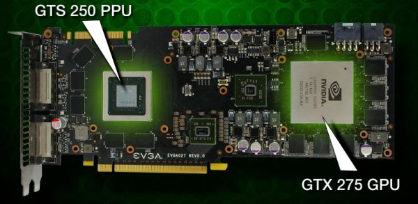 evga geforce gtx 275 co op physx layout - EVGA GeForce GTX 275 Co-op com GTS 250 para PhysX