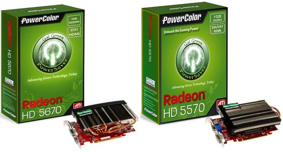 PowerColor Go Green HD5670 5570 01 - PowerColor Radeon HD 5670 e 5570 Go! Verde
