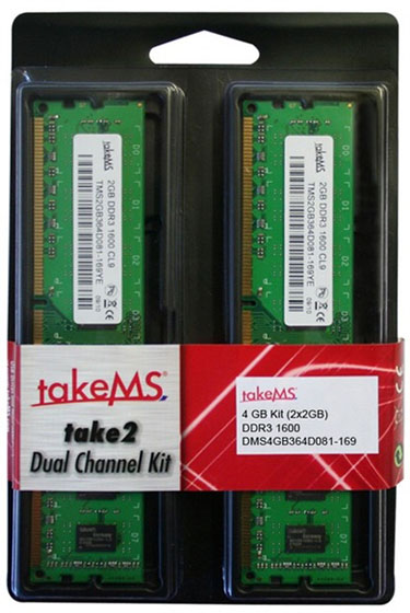 takeMS 4GB DDR3 1600 kit 01 - TAKEMS Kit DDR3 1.600MHz