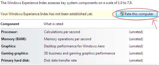 Índice de Experiência do Windows 7 - Avalie este computador