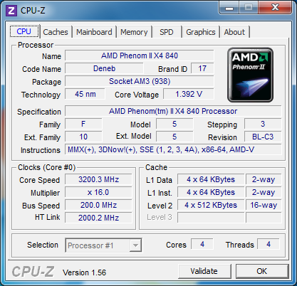cpuz review amd phenom II x4 840 - Review Phenom II X4 840