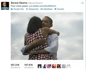 Captura de pantalla 2012 11 07 a las 13.27.06 - Obama publica o Tweet com mais retweets do mundo